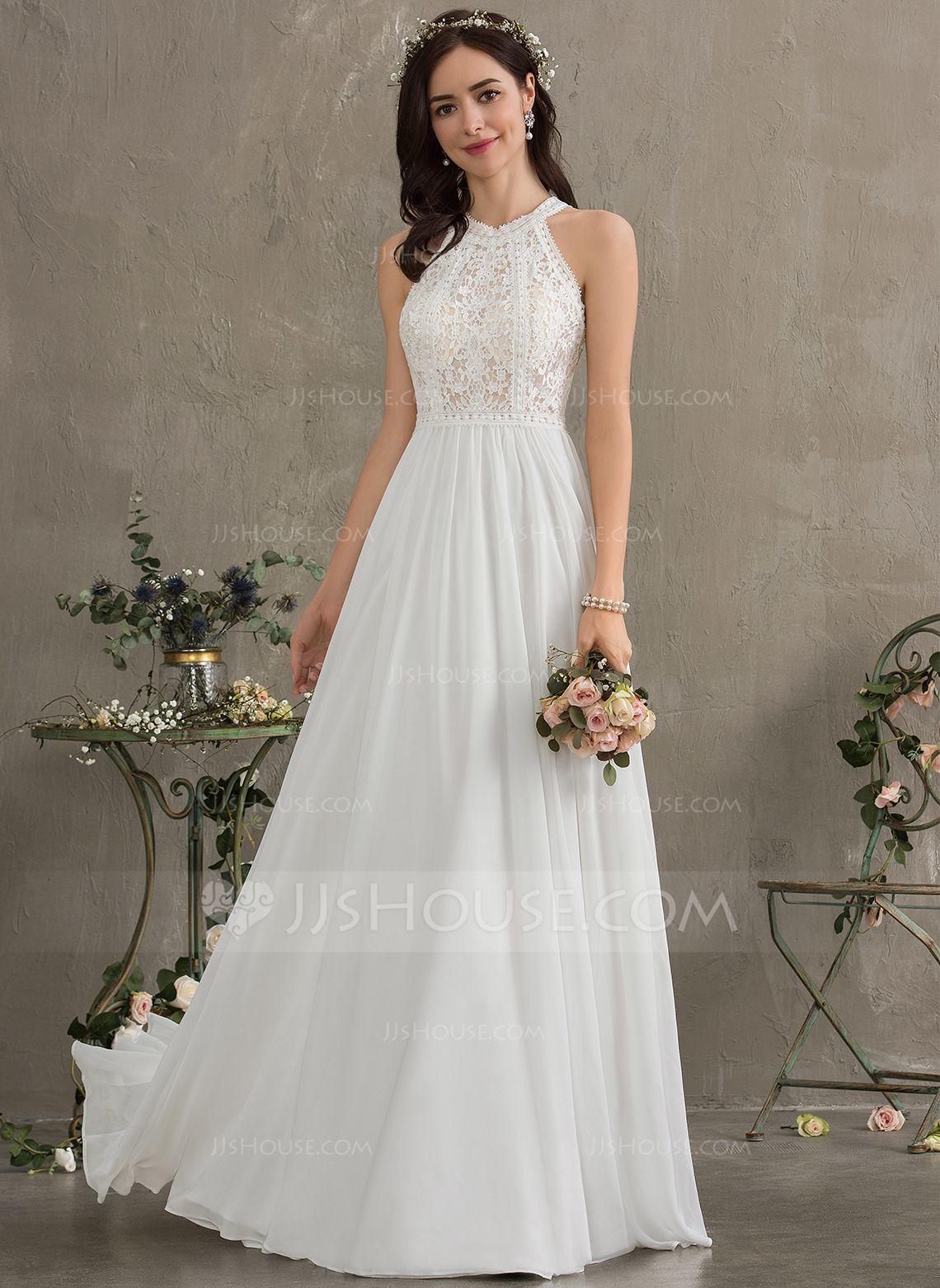A-Line Scoop Neck Floor-Length Chiffon Wedding Dress (11