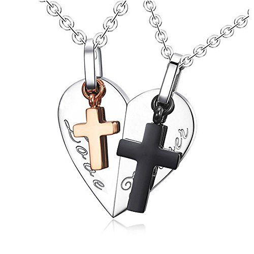 LOPEZ KENT Jewelry Mens Stainless Steel Simple Cross Pendant Necklace Silver