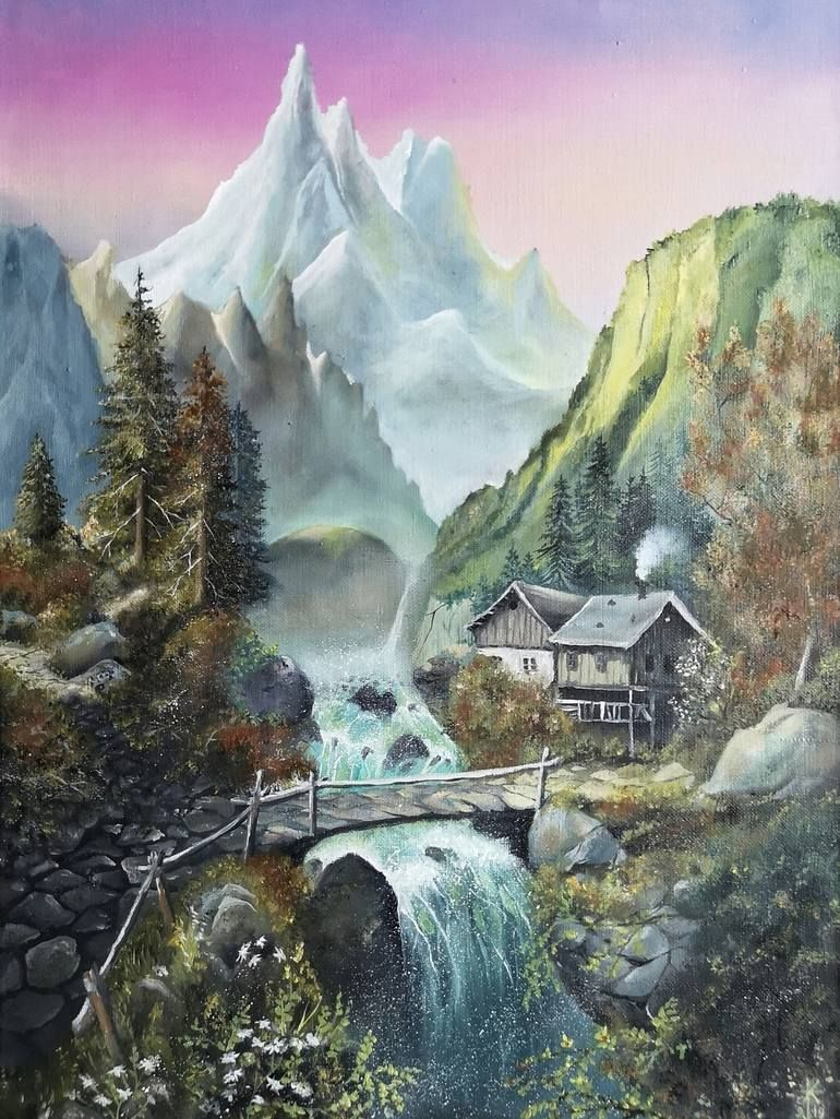 Oil On Canvas Mountain House Painting Oil On Canvas Original Landscape Painting Painting