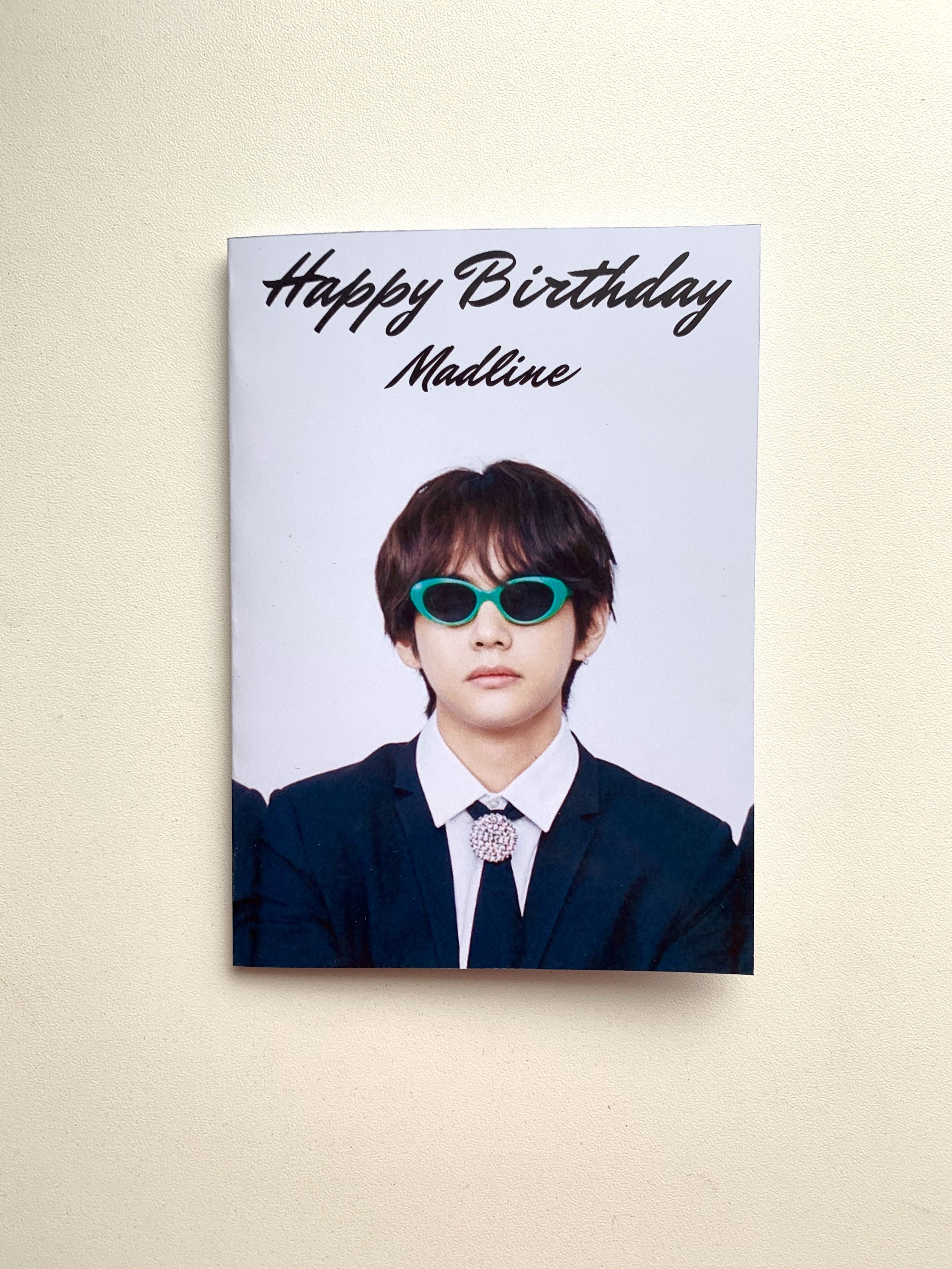Taehyung Bts Customized Birthday Cards In 2021 Birthday Cards Journal Stickers Cute Stickers