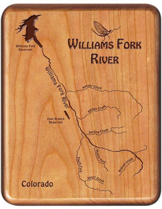 WILLIAMS FORK Upper River Map Fly Box - Handcrafted, Custom Designed