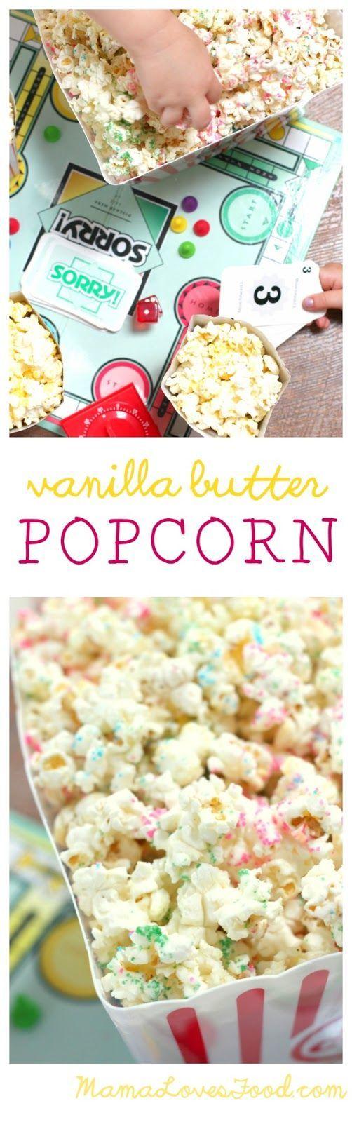 Delicious vanilla butter popcorn! Such a yummy, easy recipe!