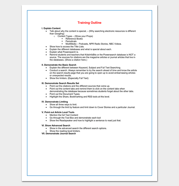 Training Course Outline Template For Word