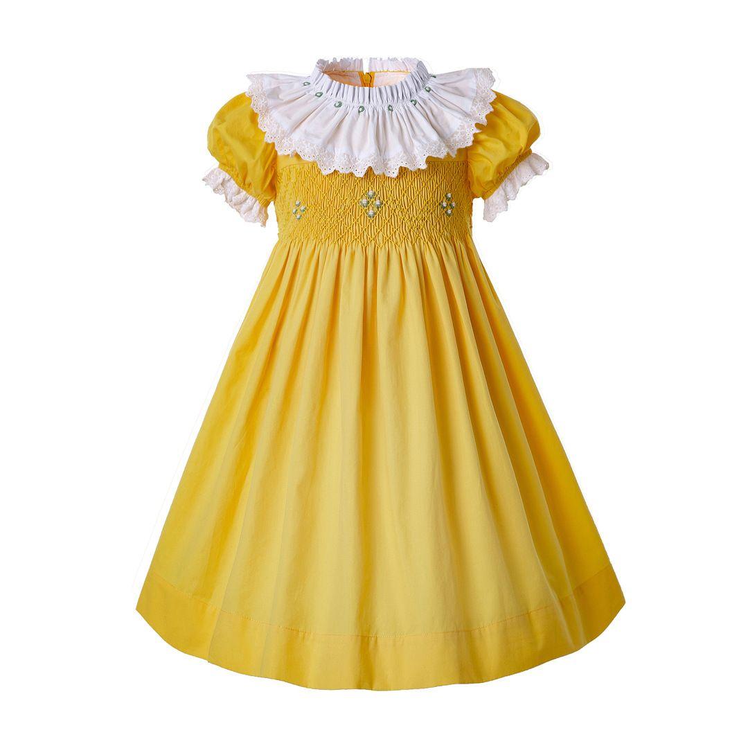 Yellow Easter Smocked Dress In 2021 Girls Smocked Dresses Girls Easter Dresses Easter Smocked Dress