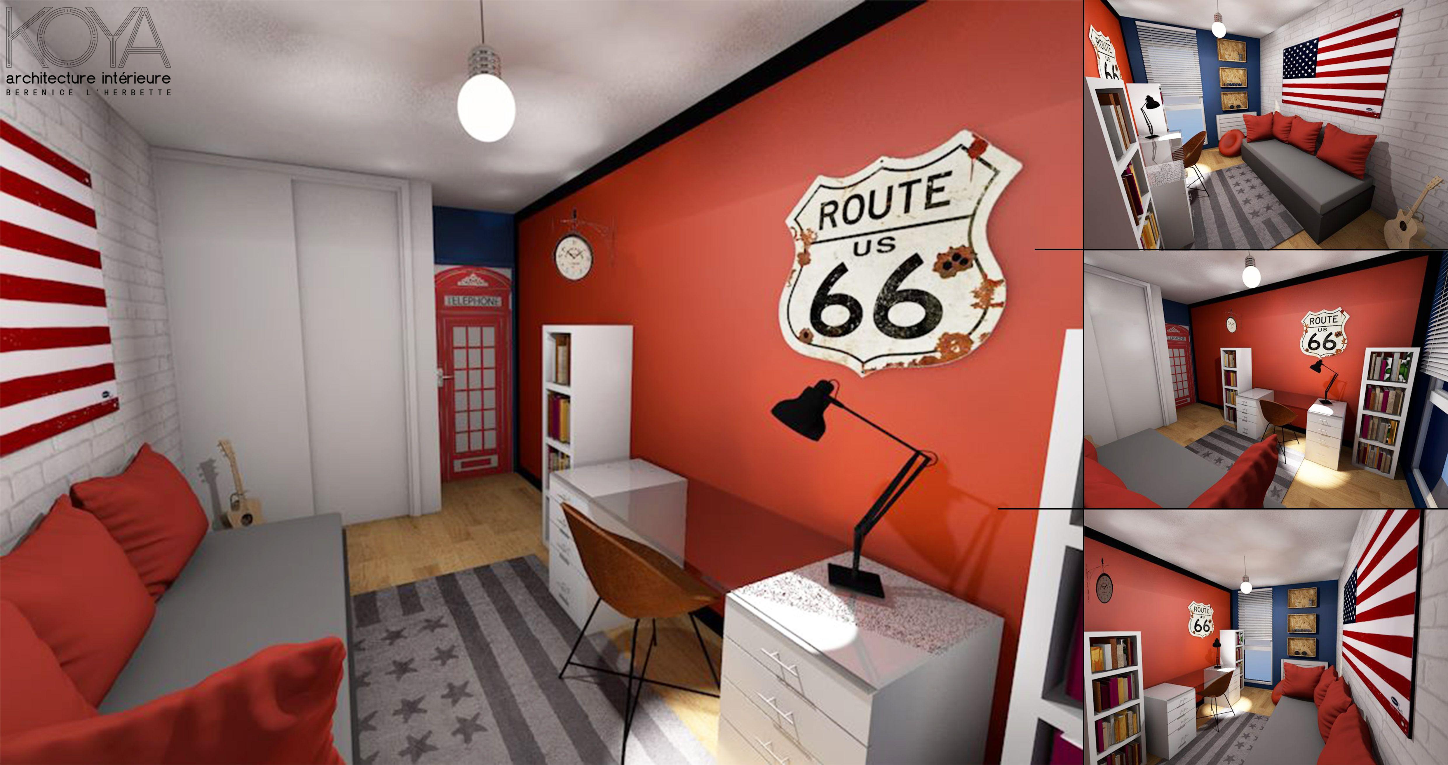 Idee Deco Chambre Londres chambre pour ado sur le thème londres us dans les tons rouge