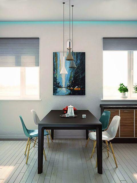 Blog - 30 inspirations #déco pour votre #salon > ♡ On aime : Ce mélange de couleurs déclinées du bleu #turquoise au gris, du blanc au #grège  ✐ On retient :  Le parquet à fines lames grisés qui donne l'impression d'être dans une maison de vacances