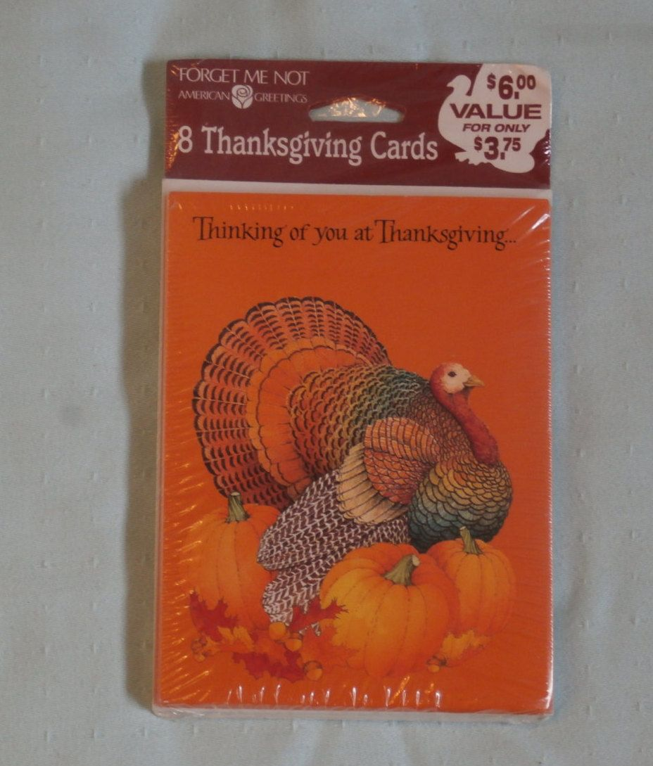Thanksgiving Cards Package Of 8 Vintage Thinking Of You Cards By