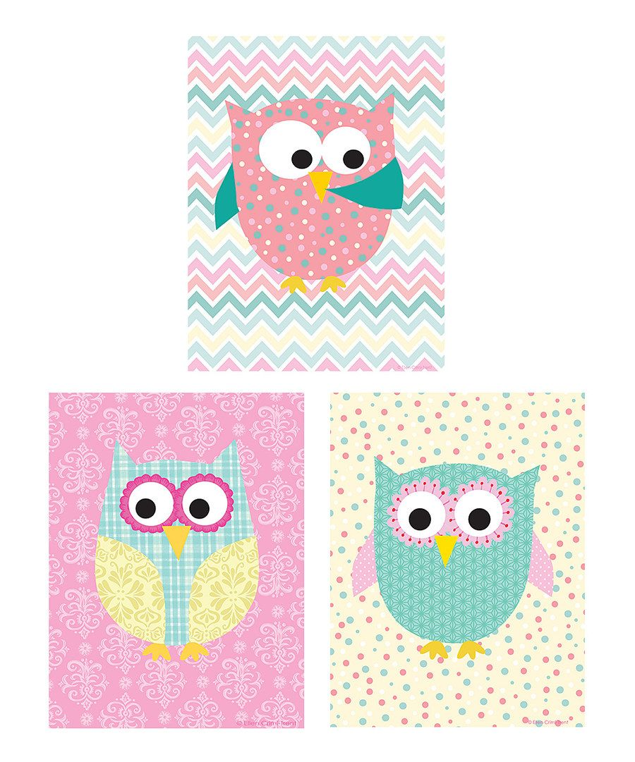 Look at this Ellen Crimi-Trent Pink Spring Owl Print Set on #zulily today!