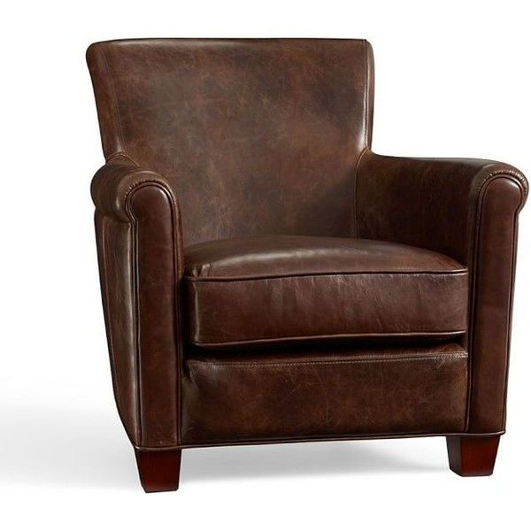 pottery barn irving leather armchair 999 liked on polyvore featuring home furniture chairs. Black Bedroom Furniture Sets. Home Design Ideas