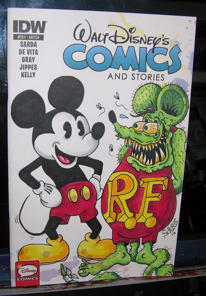 e3a87accadd ORIGINAL ART SKETCH COVER RAT FINK MICKEY MOUSE DISNEY COMICS   STORIES  SCHERES