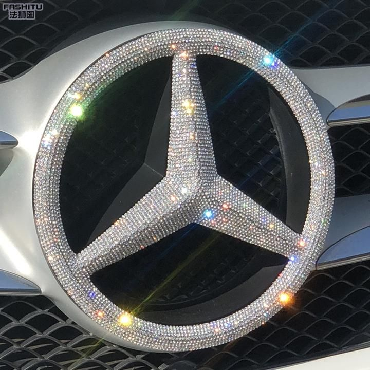 Bling One-piece easy to install Mercedes Benz LOGO Decal for Front Grille Emblem