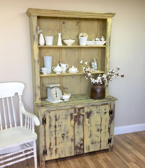 This Small Antique Hutch Will Bring A Pop Of Color And Rustic Endearing Antique Dining Room Hutch Decorating Design