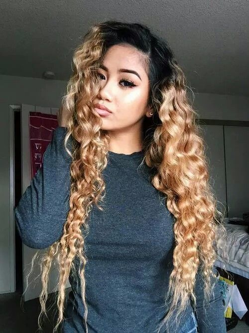 Black Roots With Blonde Ends Curly Hair Styles Wig Hairstyles