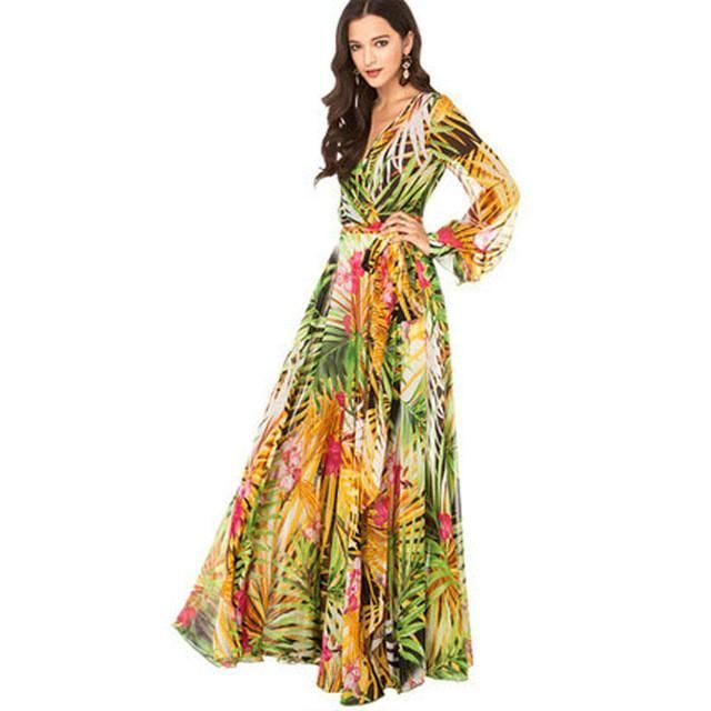*Online Exclusive* Chiffon Tropical Long Maxi Dress