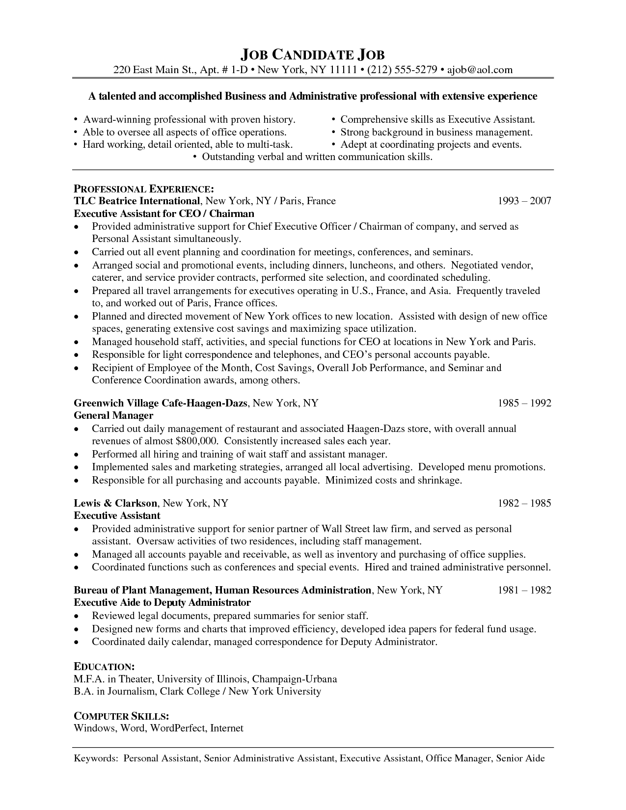 Administrative Assistant Resume Sample Lake Tech S Career Center Functional  Executive Resume Create Resume Free Executive