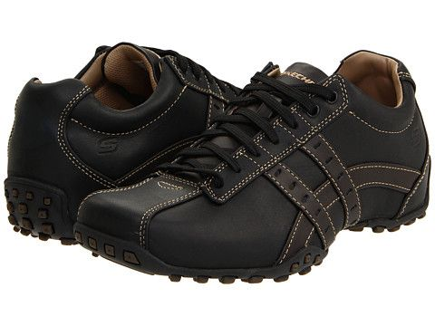 Skechers midnight black smooth leather