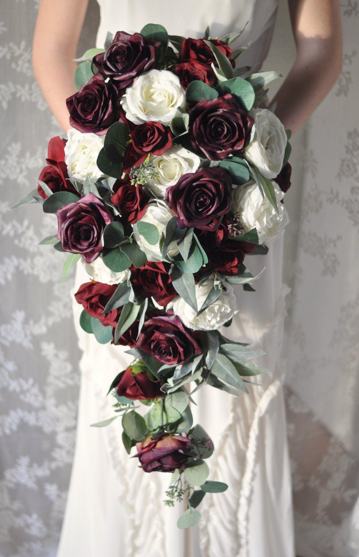 Cascade bouquet wedding bouquet bridal flowers purple