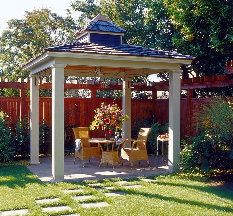 Simple hip roof pavilion with small cupola. | Backyard ...