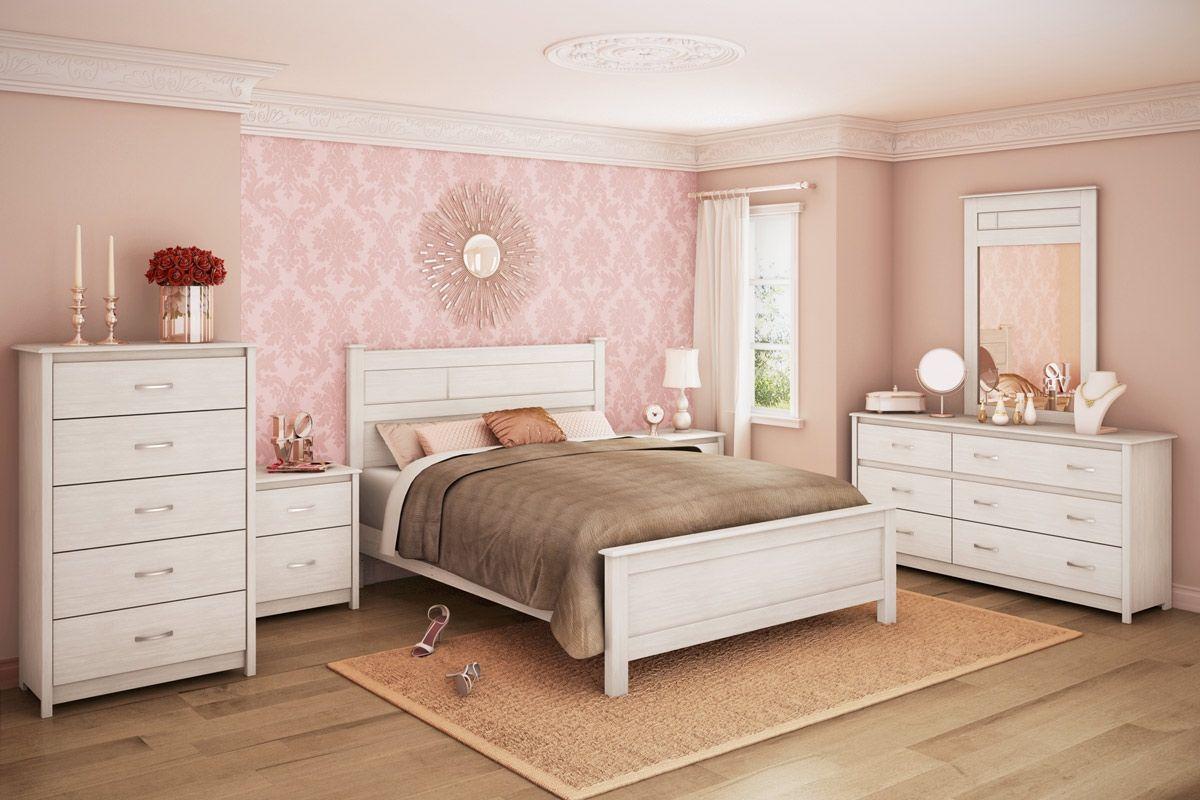 Notleidende Weiße Schlafzimmer Möbel Lförmige Zimmer