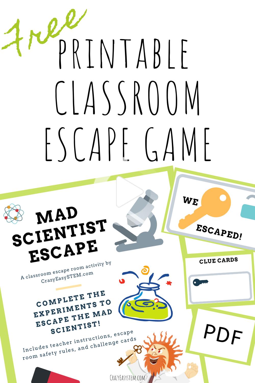 Mad Scientist Classroom Escape Game Free Pdf Escape Room Escape Game Escape Room Puzzles