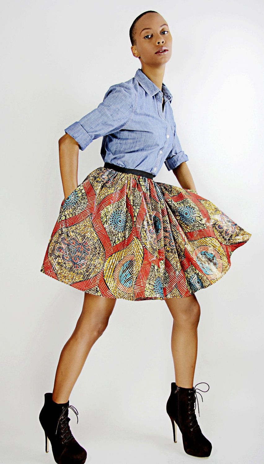 The Maggie -African Print 100% Holland Wax Cotton/Metallic Mini Skirt. $85.00, via Etsy.