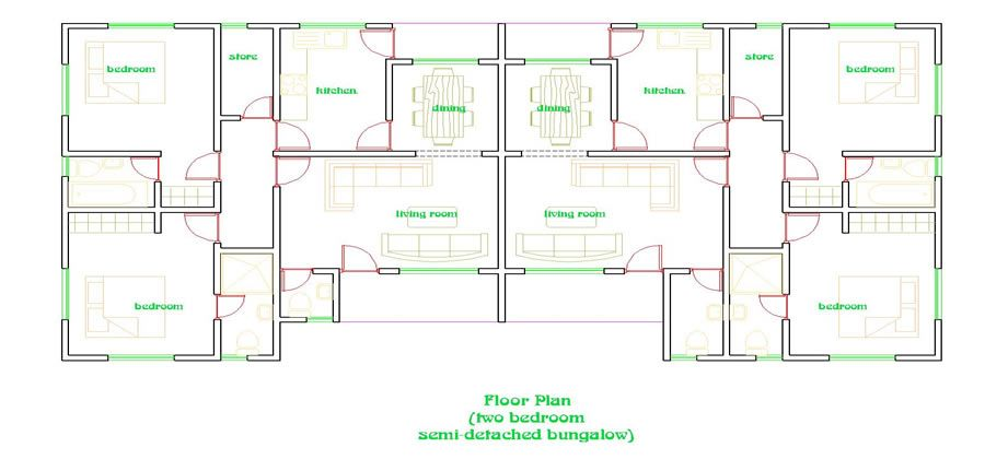 2 Bedroom Semi Detached Bungalow Floor Plans Home Ideas Decor Floor Plans Bungalow Decor Unique House Plans
