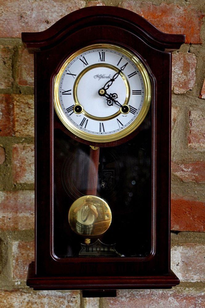 Vintage Highlands 8 Day Mahogany Case Wall Clocks With Chimes Highlands Chiming Wall Clocks Clock Wall Clock