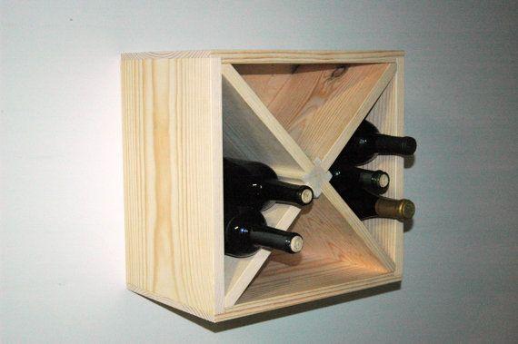 15 Square Wall Mount Hanging Wood Wine Rack Kitchen Storage Model