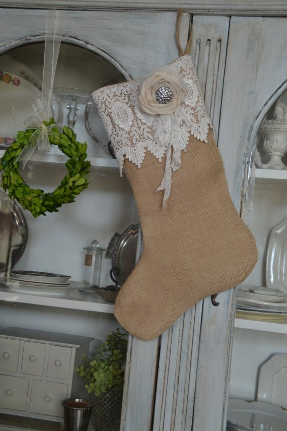 Burlap and Lace Stocking Christmas Stocking with Hand-Rolled Fabric Flower Very Prairie Farmhouse Country Beach French Cottage Style