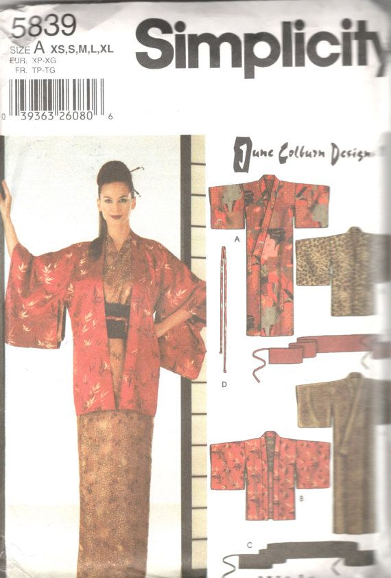 Simplicity 5839 Misses Japanese Kimono Hadri Obi Sash by mbchills ...