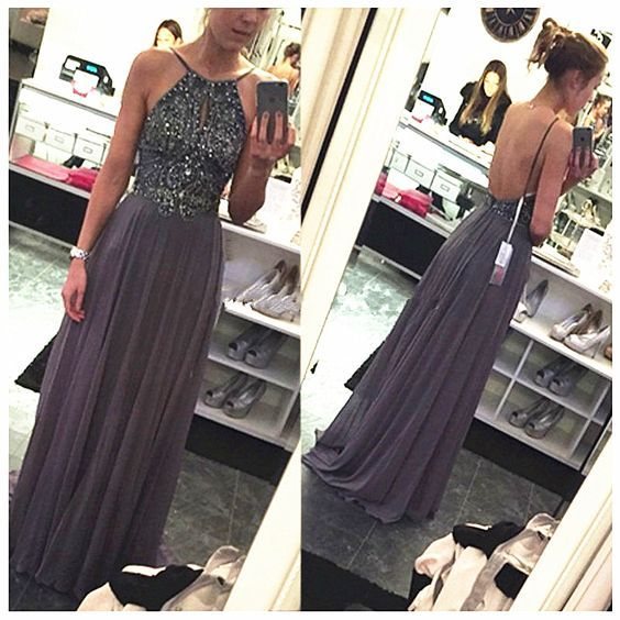 Bg1114 Grey Long Prom Dress,Sexy Prom Dress,Beading Prom