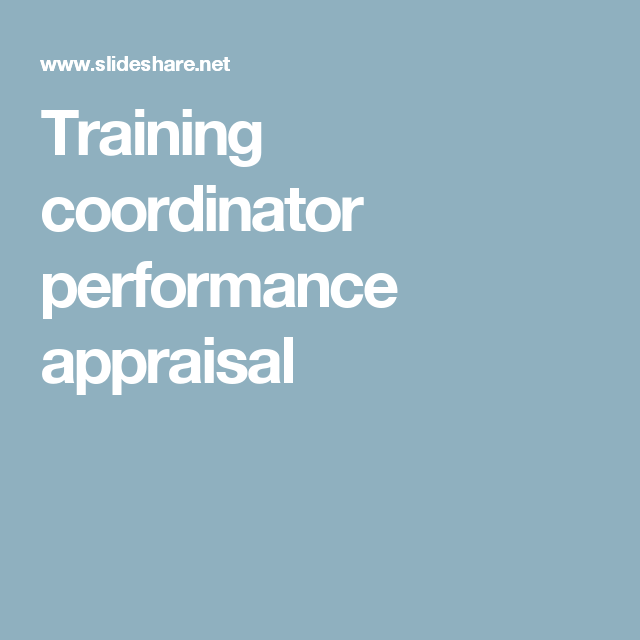 Training Coordinator Performance Appraisal  Hr    Job
