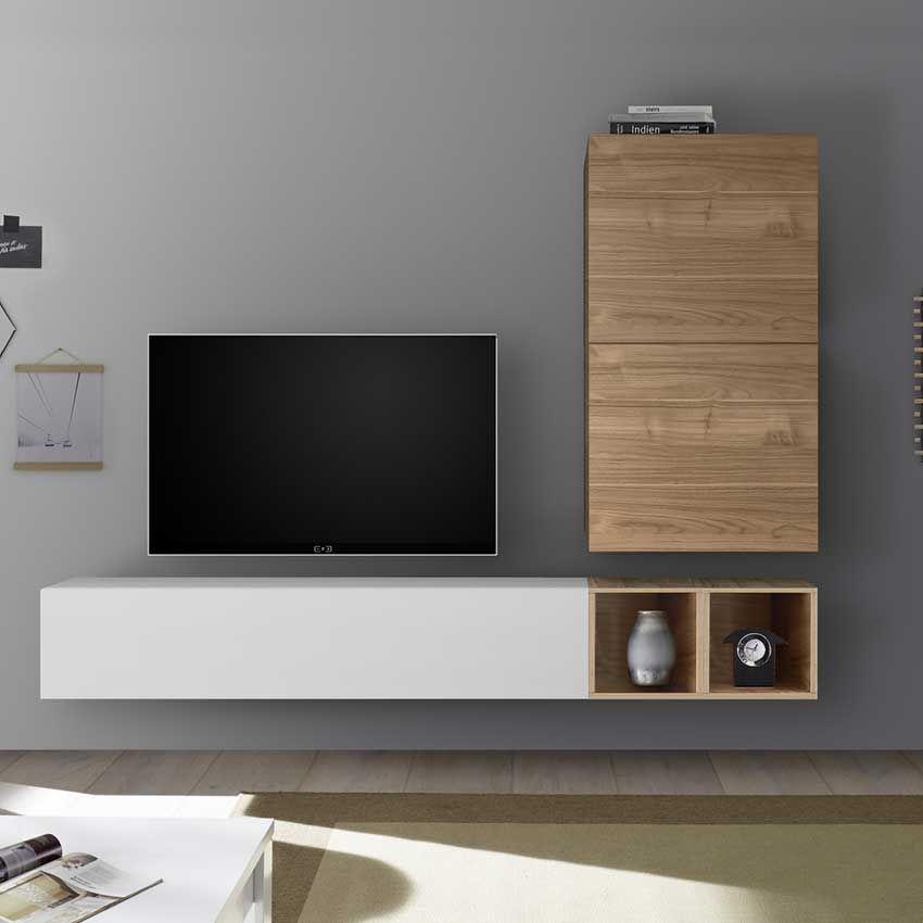 meuble tv mural bois clair et blanc