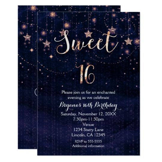 Sweet 16 starry night purple gold invitation pinterest gold sweet 16 starry night purple gold invitation stopboris Images