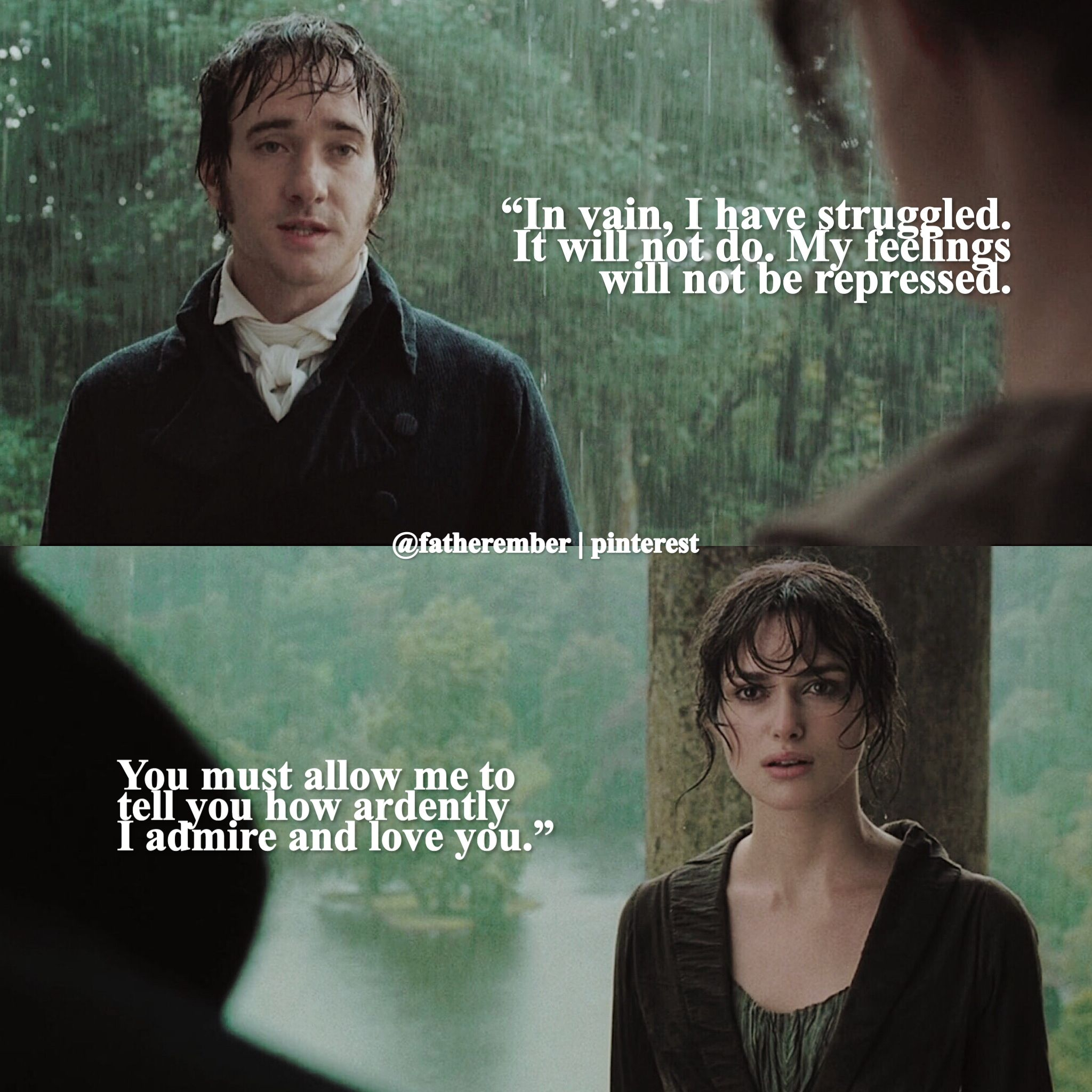 """In vain, I have struggled. It will not do. My feelings will not be repressed. You must allow me to tell you how ardently I admire and love you."" — Mr. Darcy to Elizabeth Bennet (Pride and Prejudice 2005) #prideandprejudice #mrdarcy #elizabethbennet #mrbingley #janebennet #janeausten #edit #quote #prideandprejudice"