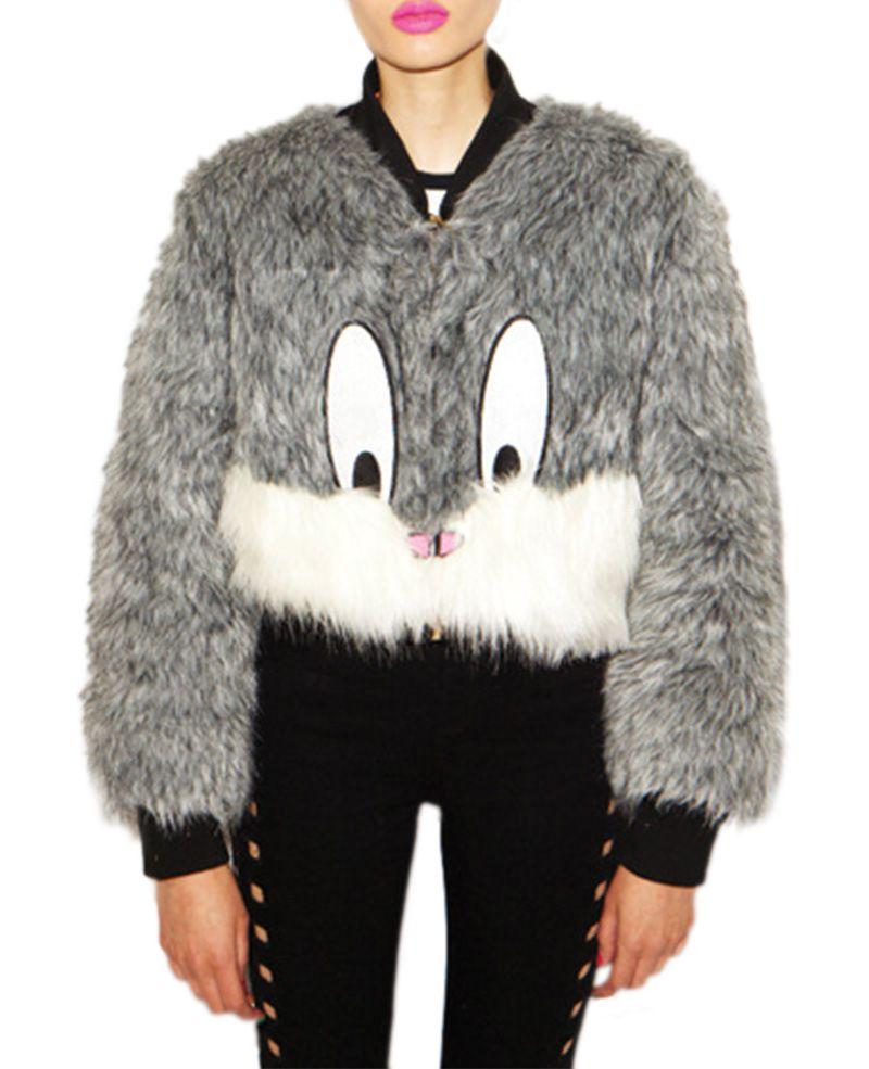 Bugs Bunny Print Slim Cropped Faux Fur Coat Cropped Faux Fur Coat Faux Fur Coat Long Faux Fur Coat [ 985 x 800 Pixel ]