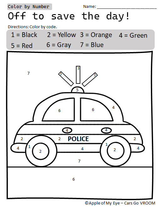 Free Cars Go Vroom Preschool Resource Color By Number Police Car Preschool Coloring Pages Homeschool Programs Color By Number Printable