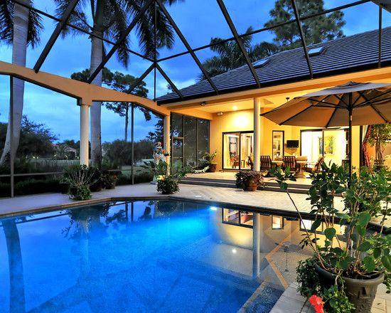 Indoor Pool Screened Pool Lanai Decorating Tropical Pool