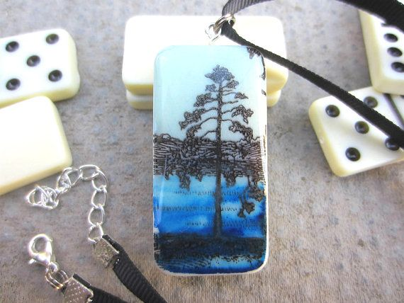 Tree necklace blue necklace river necklace domino pendant blue river tree stamped domino necklace handmadenecklace bluenecklace naturejewellery aloadofball Image collections