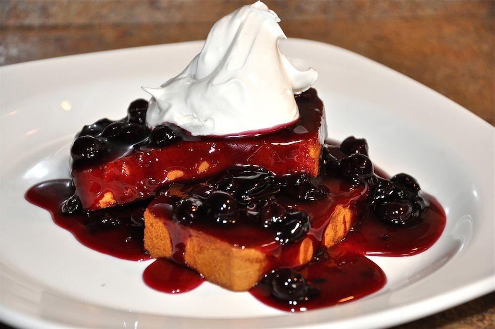 Honey butter toasted pound cake with blueberry glaze a