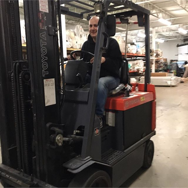 Brad working hard at the Mokena warehouse! It's a happy Monday at Creative Carpet & Flooring today :-) #working #mondaymotivation #greatweek