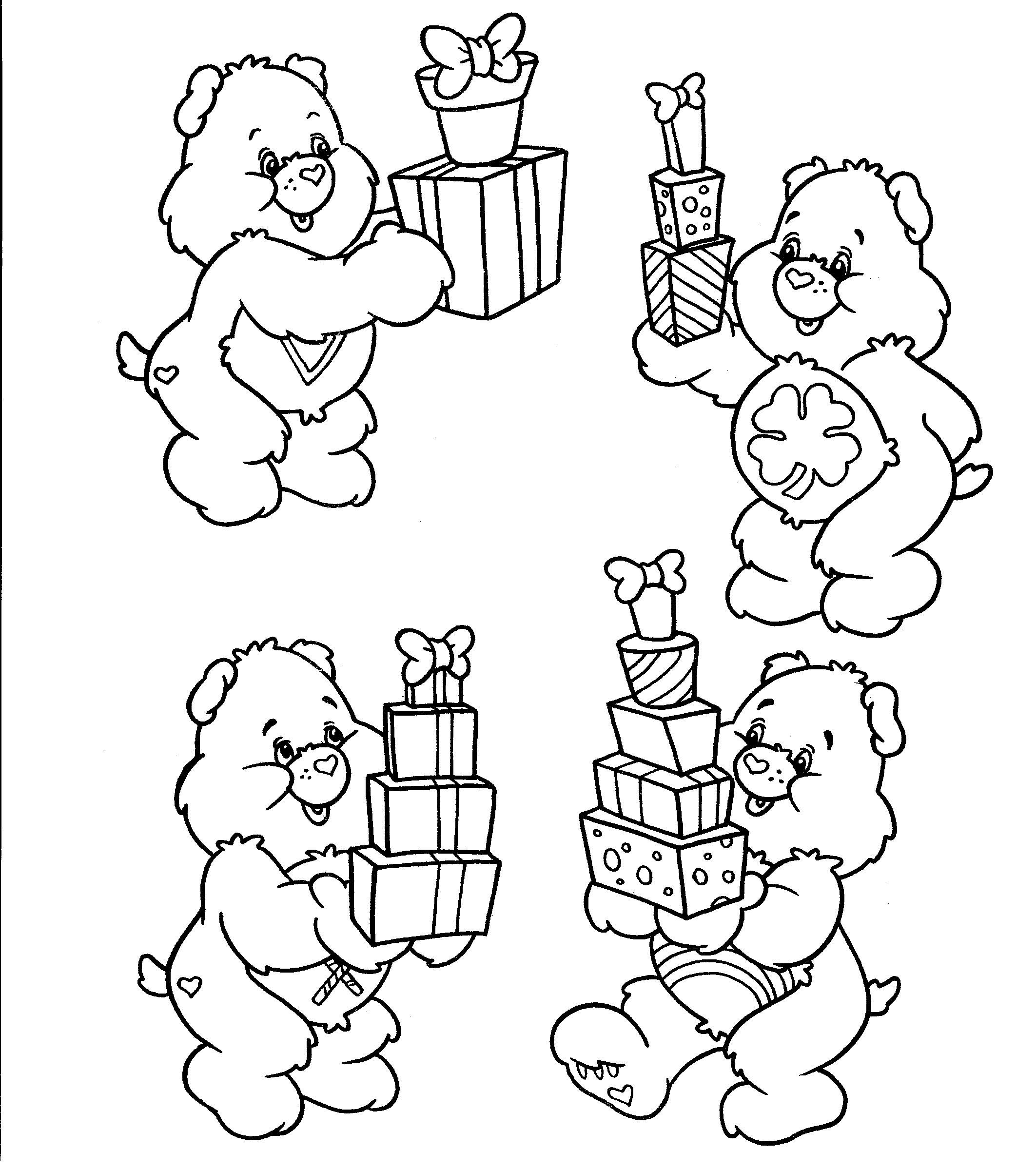 Birthday Care Bears Coloring Worksheets