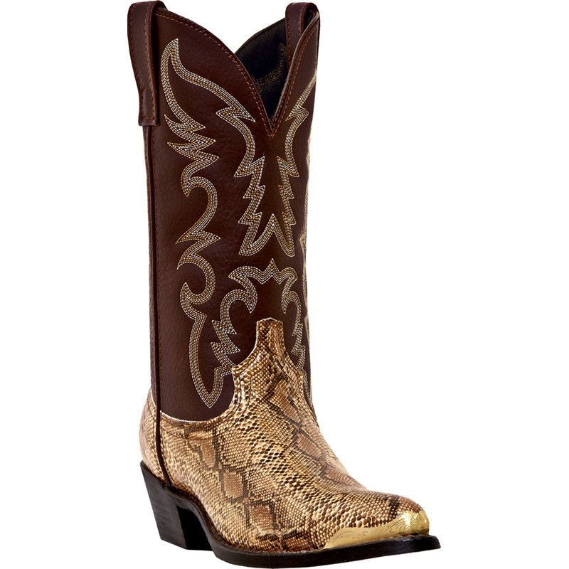 "These authentic western brown faux leather mens cowboy boots from Laredo feature a 12"" leather-like shaft, j toe, and cowboy heel. Constructed from high quality"