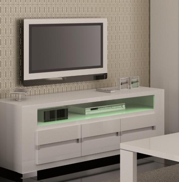 Elegance White Black High Gloss Tv Unit With Opt Led Lighting See
