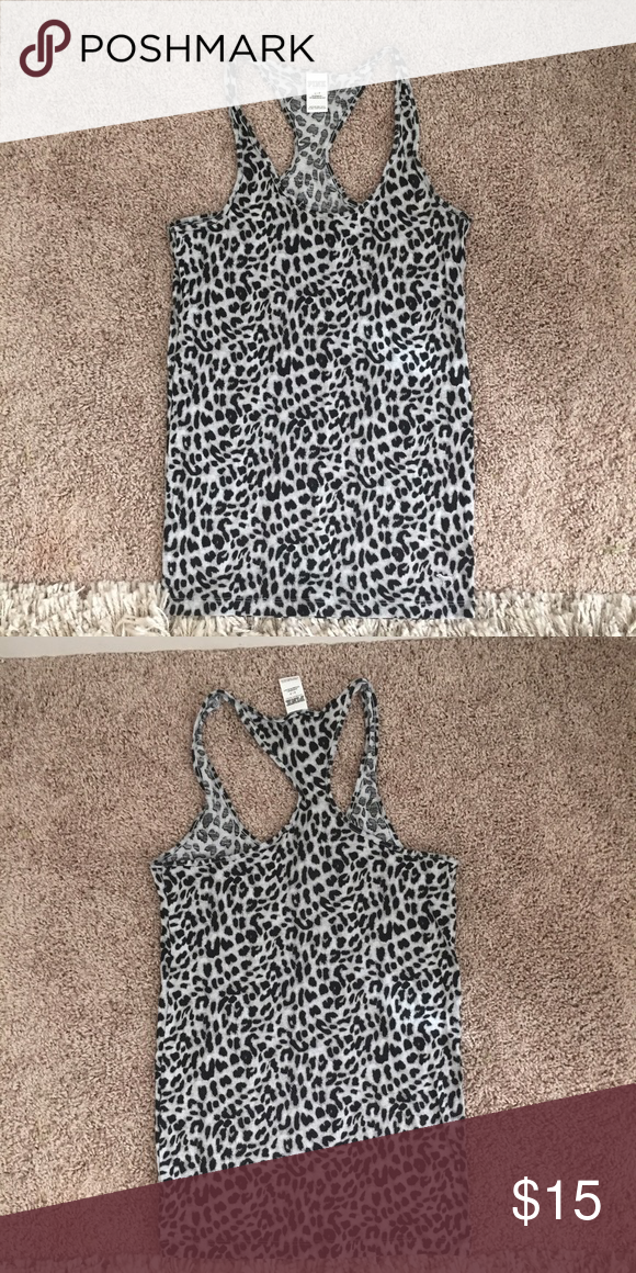 VS PINK tank top Animal print tank top by VS PINK. Only worn a few times and in perfect condition. PINK Victoria's Secret Tops Tank Tops