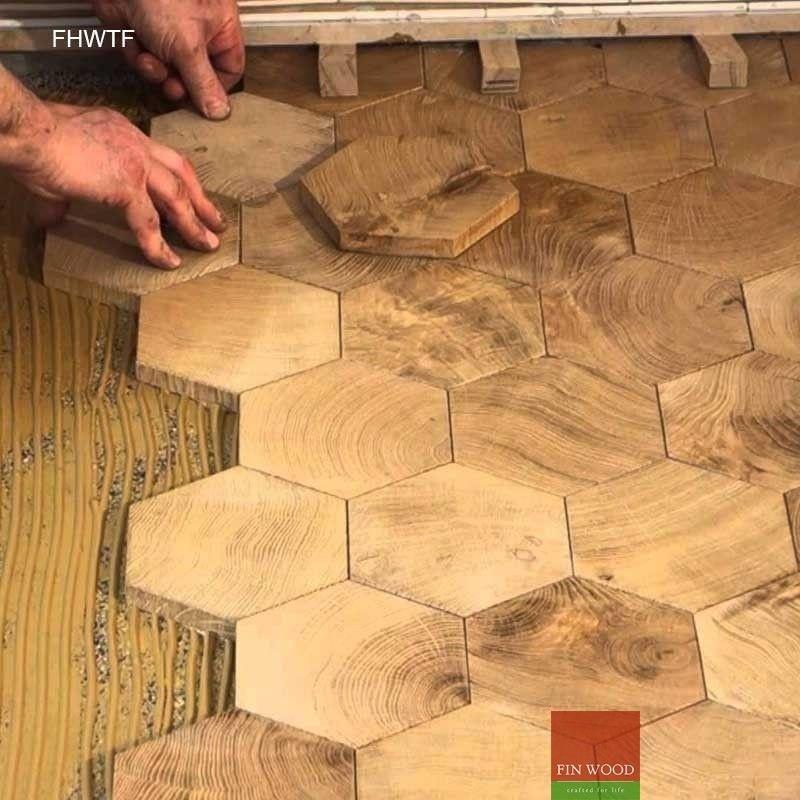 Fitting Hexagon Wood Tiles Floors Hexagon Parquet Floor End