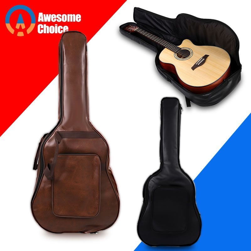 40 41 Inch Leather Guitar Bag Carry Case Backpack Pu Leather Acoustic Guitar Gig Bag Cover With Sheet Music Pocket Guitar Bag Bag Cover Bags