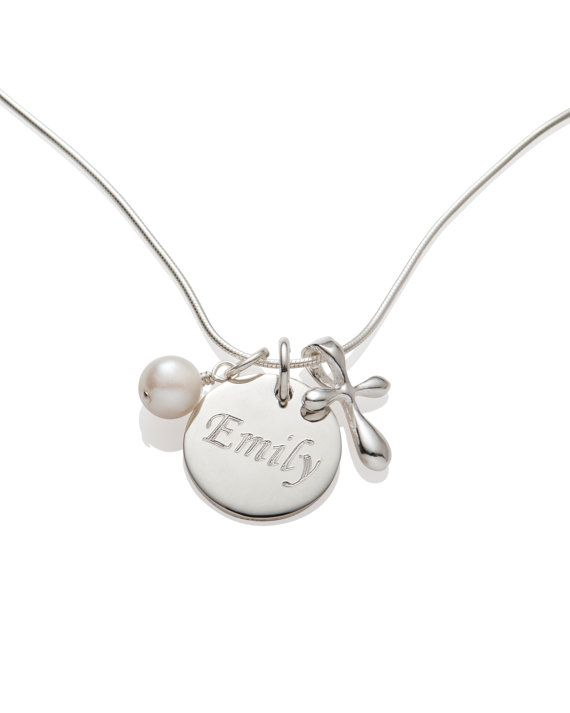 Girl Baptism Gift Cross Necklace Name And Date Necklace