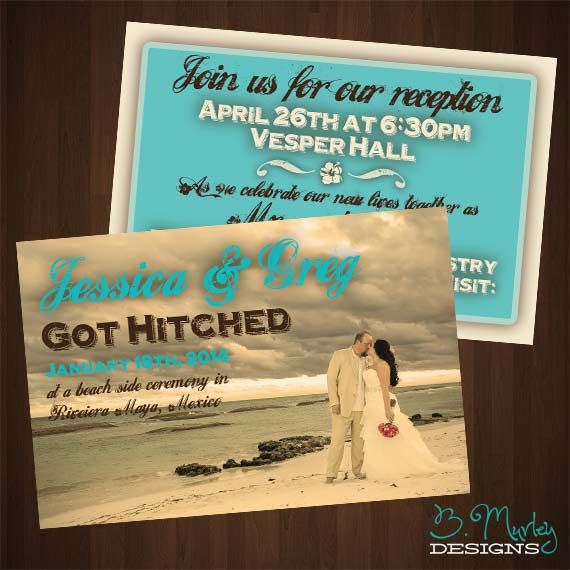 Wedding Abroad Invitation Wording Ideas: Got Hitched: Destination Wedding Home Reception Invitation