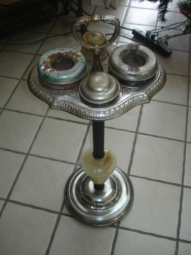 Vintage Silver Onyx Art Deco Standing Ashtray Stand With